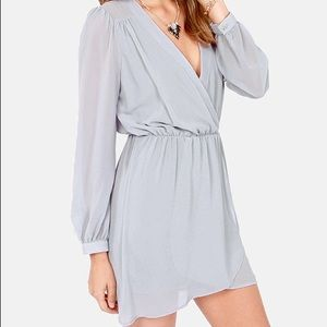 Lulu's Light Grey V Neck Wrap Dress XS